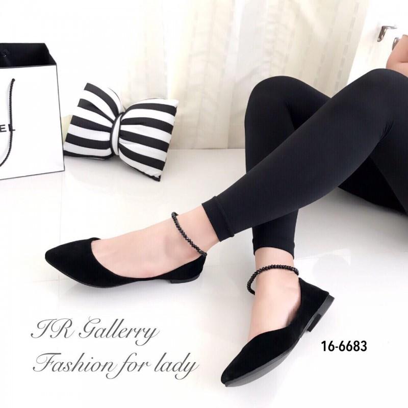 รองเท้าคัทชูส้นแบนแต่งสายรัดคริสตัล (สีดำ)