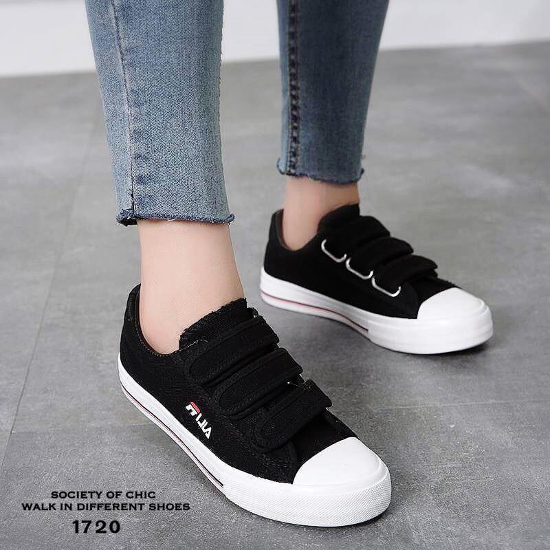 olika design bästa service försäljning med lågt pris รองเท้าผ้าใบเมจิกเทป Style FILA (สีดำ) | PChome Thai