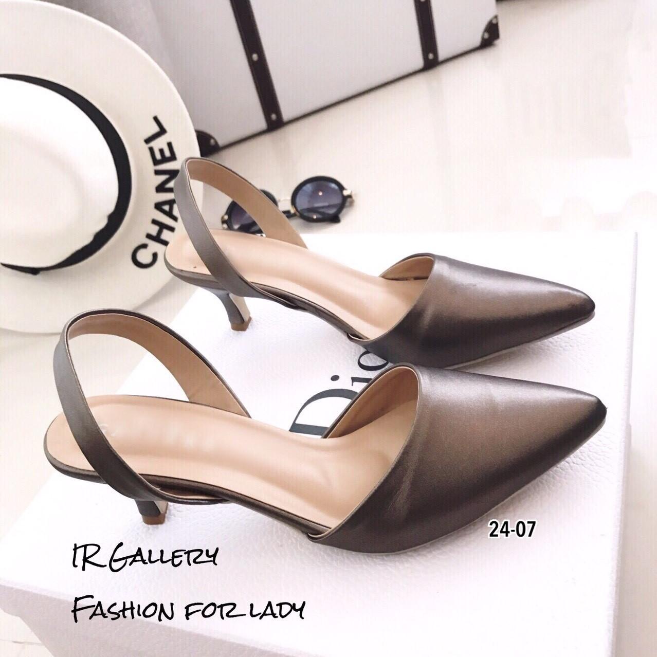รองเท้าหัวแหลมรัดส้น Style Zara (สีเทา)