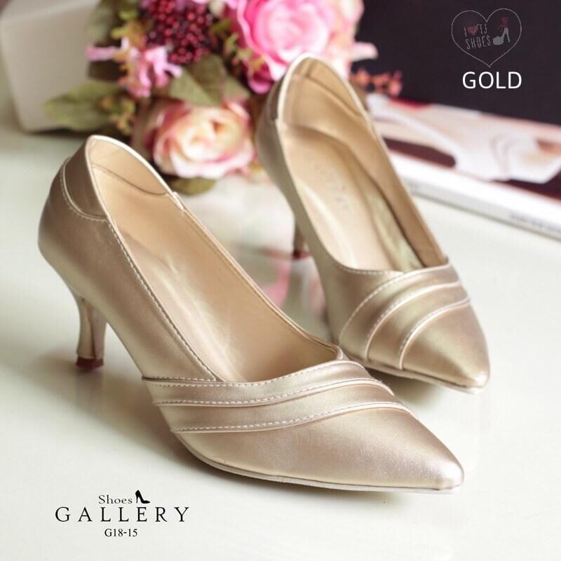 รองเท้าส้นสูงหนังนิ่ม (สีทอง)