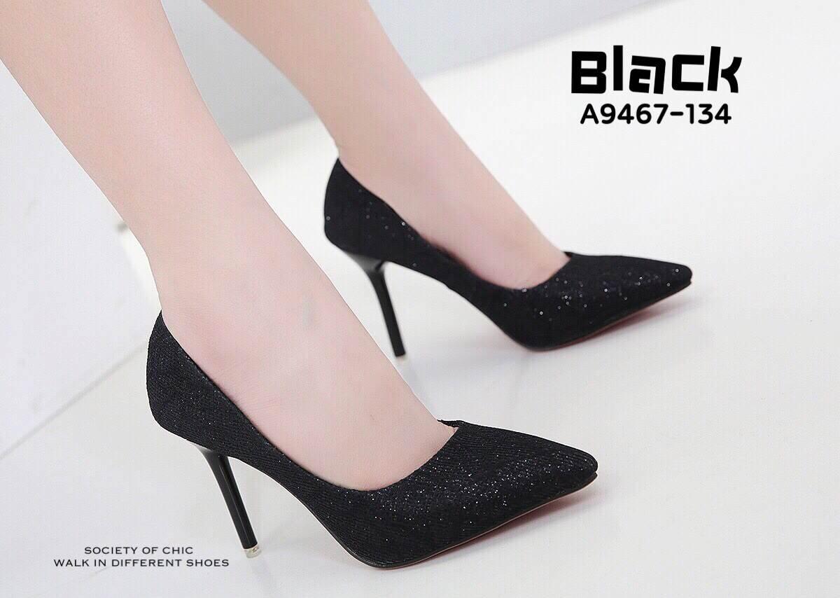 รองเท้าคัทชูส้นสูงกลิตเตอร์ (สีดำ)