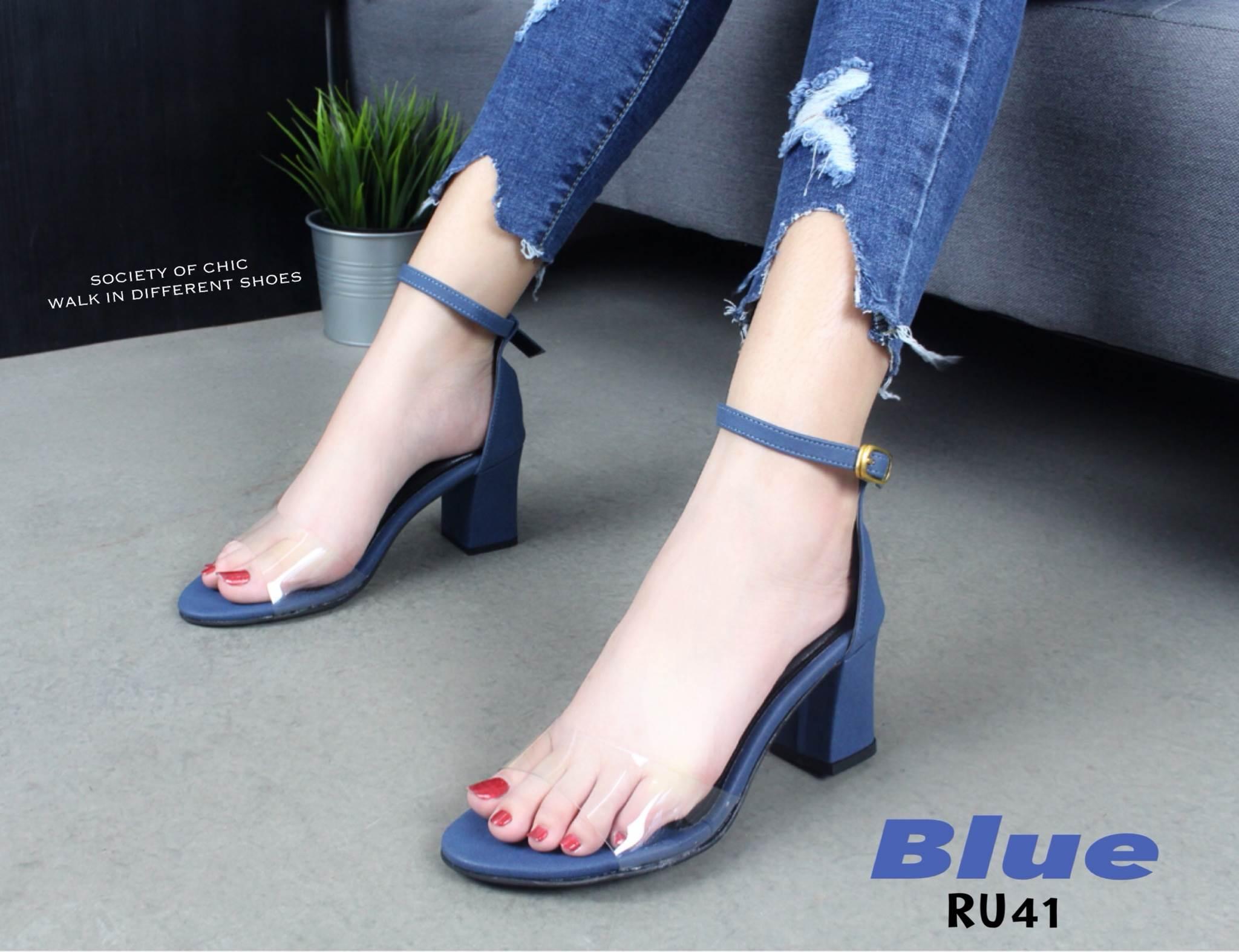 รองเท้าส้นตัดรัดข้อคาดใส (สีน้ำเงิน)