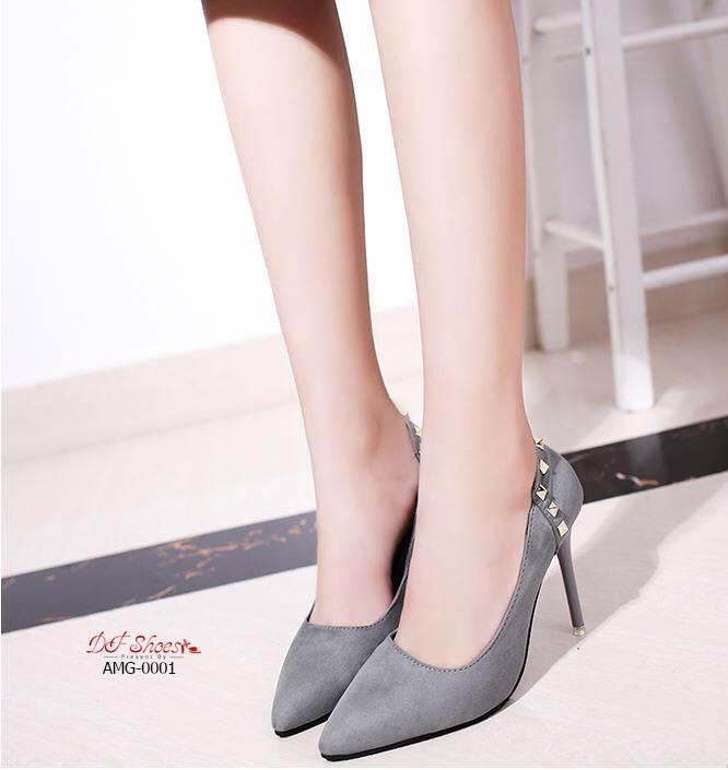 รองเท้าคัทชูส้นสูงแต่งมุก (สีเทา)