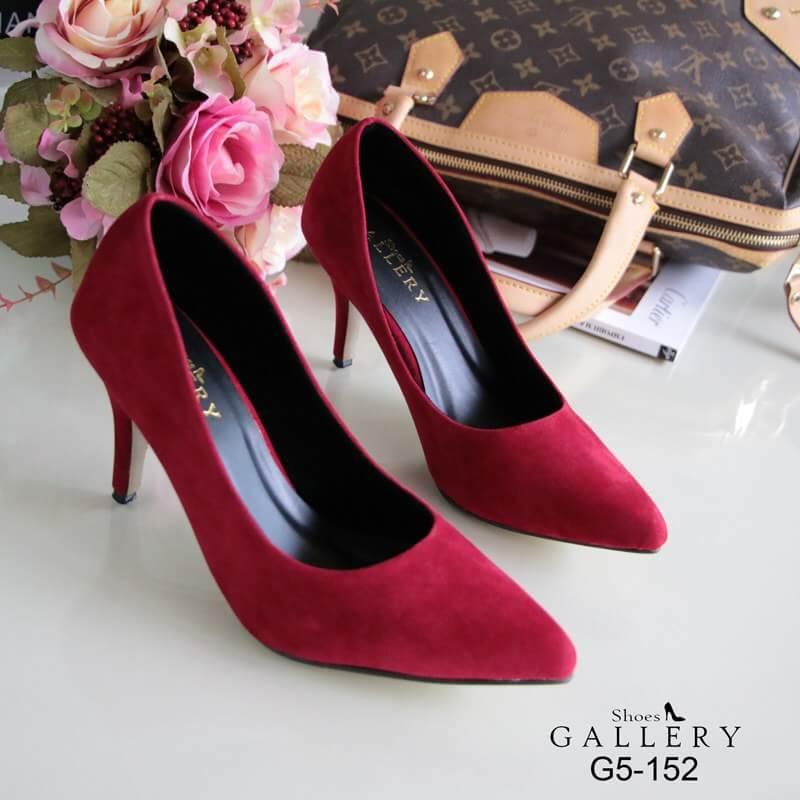 รองเท้าคัทชูกำมะหยี่สีเรียบ (แดง)
