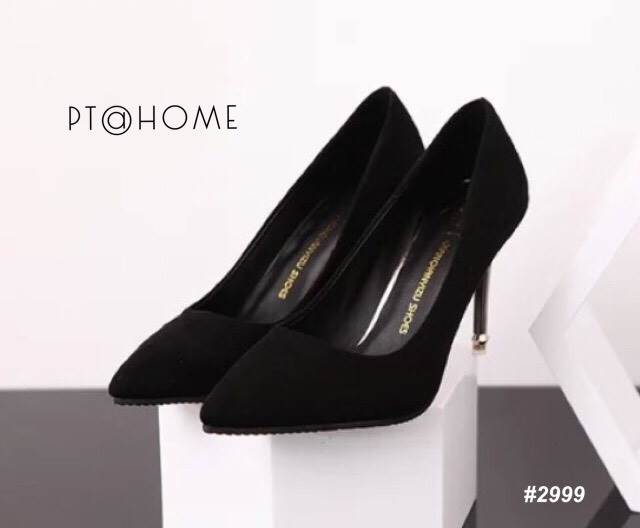 รองเท้าส้นสูงสักหลาดเรียบ (สีดำ)