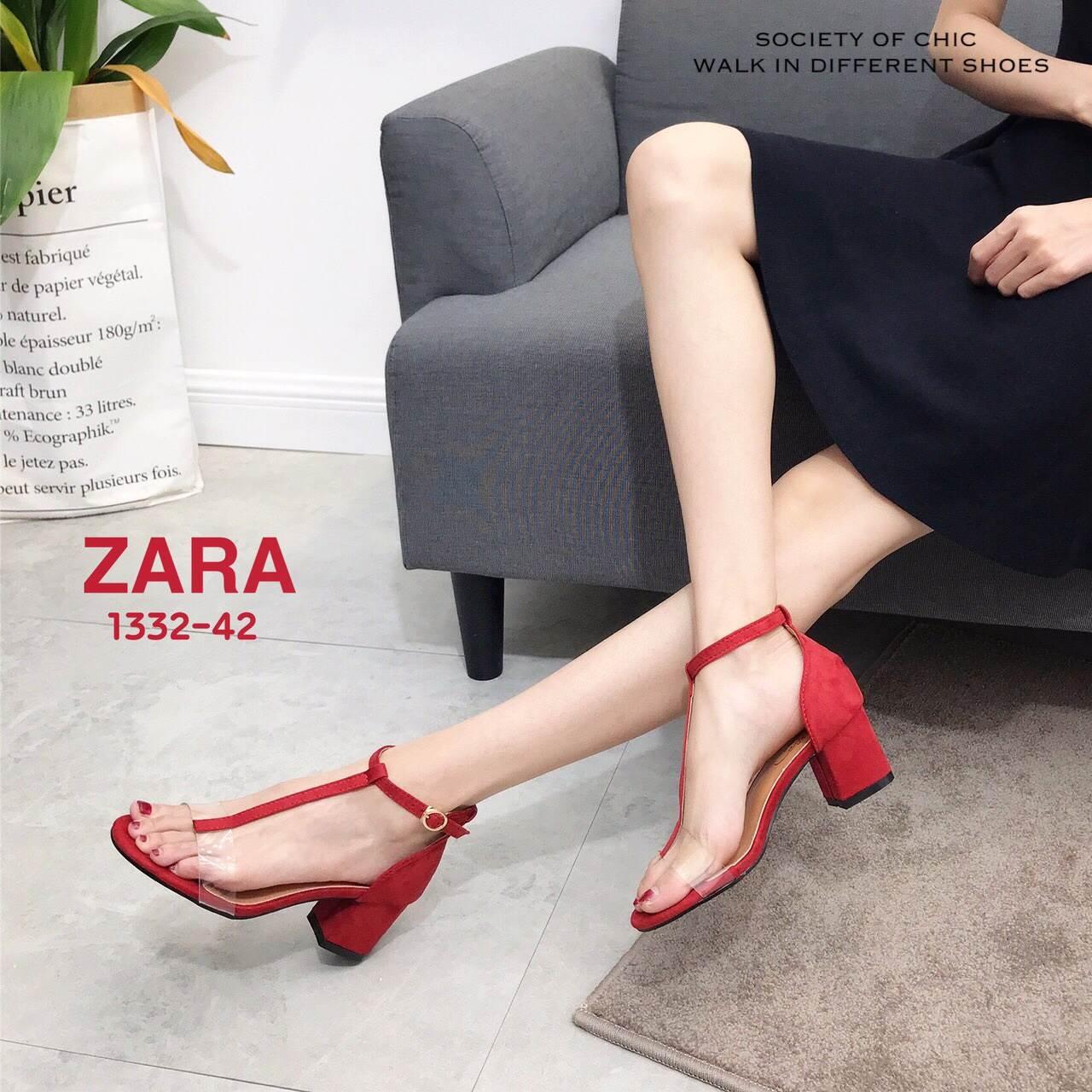 รองเท้าส้นตัน Style Zara T-Strap (สีแดง)