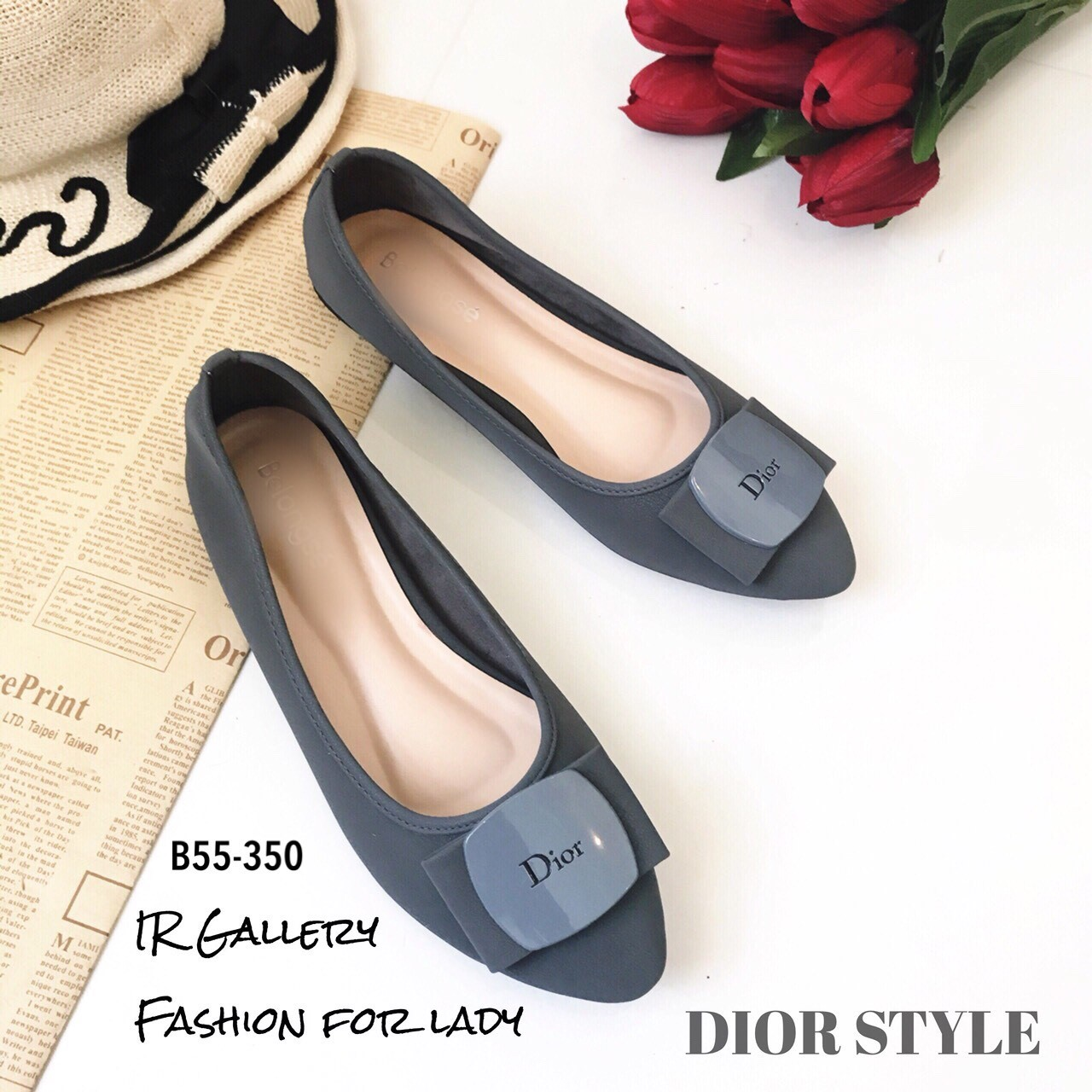 รองเท้าคัทชูส้นแบน Style Dior (สีเทา)