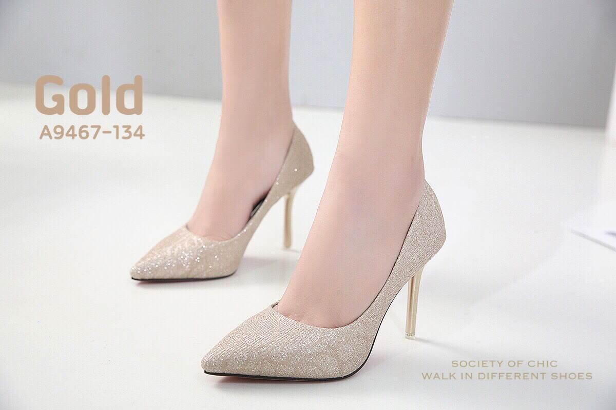 รองเท้าคัทชูส้นสูงกลิตเตอร์ (สีทอง)