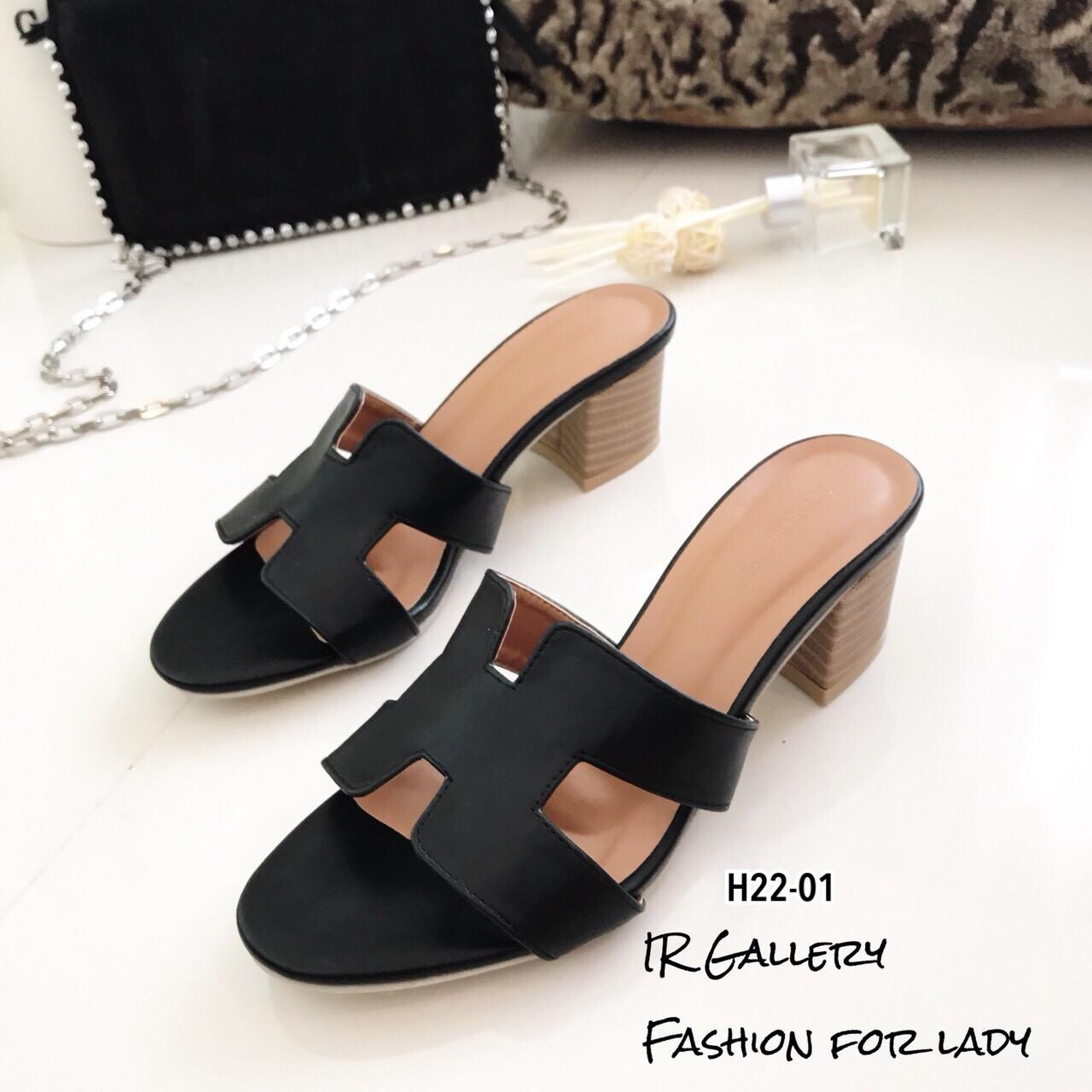 รองเท้าแตะสวมเสริมส้น Style Hermes (สีดำ)