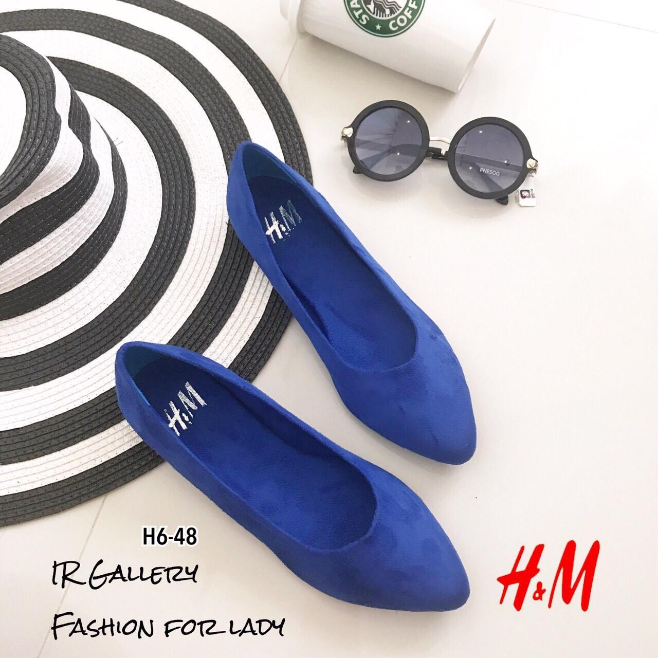 รองเท้าส้นแบนสไตล์ HM (สีน้ำเงิน)