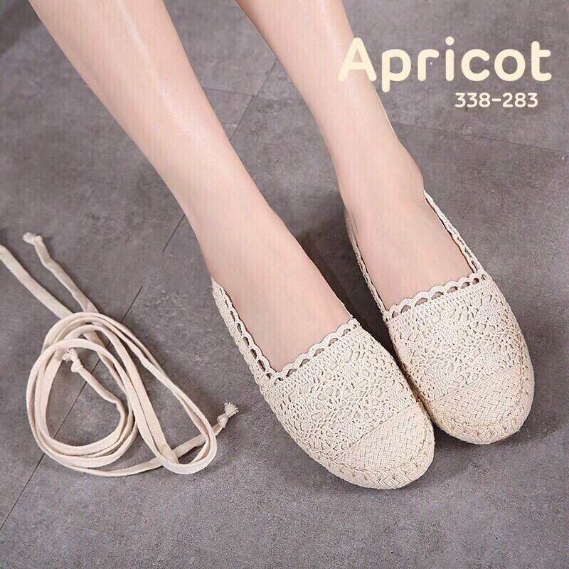 รองเท้าลูกไม้ส้นแบน Style Valentino (มีสายถอดได้)