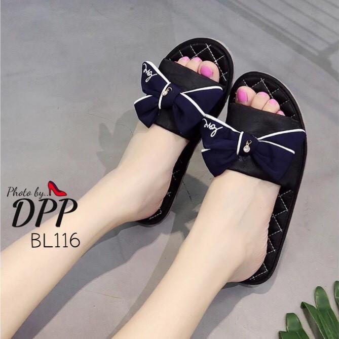 รองเท้าแตะโบว์สไตล์แฟชั่นเกาหลี (สีดำ)