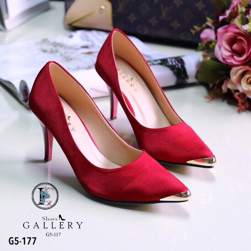 รองเท้าคัทชูซาตินอะไหล่ทอง (สีแดง)