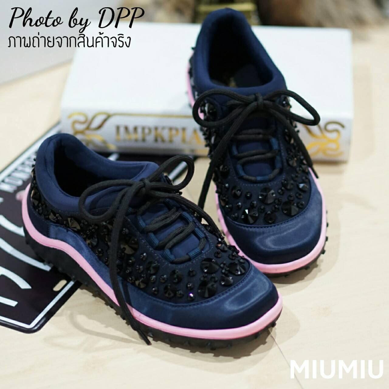พร้อมส่ง : รองเท้าผ้าใบ MIUMIU Jeweled Satin Lace-Up Sneaker (สีกรม)