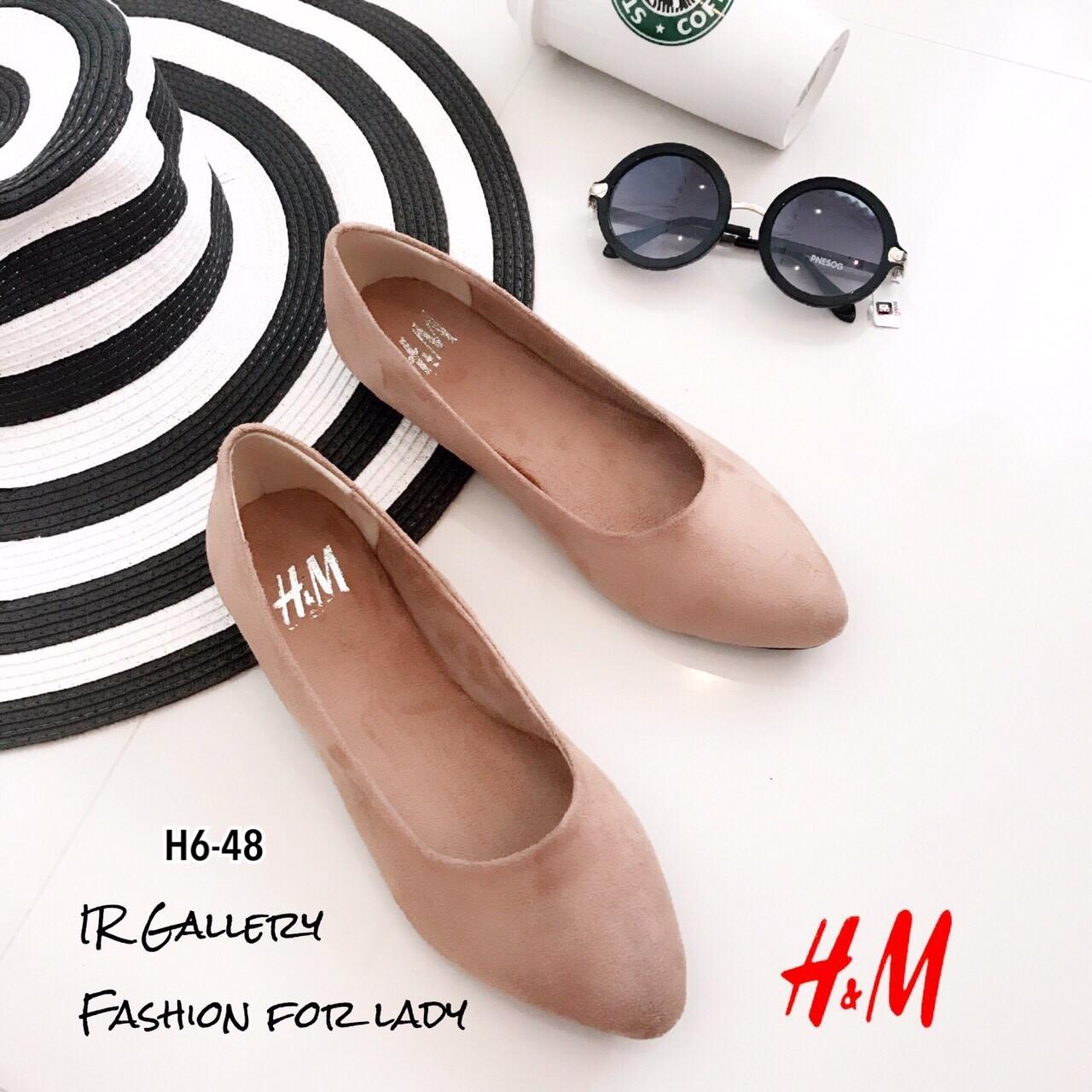 รองเท้าส้นแบนสไตล์ HM (สีครีม)