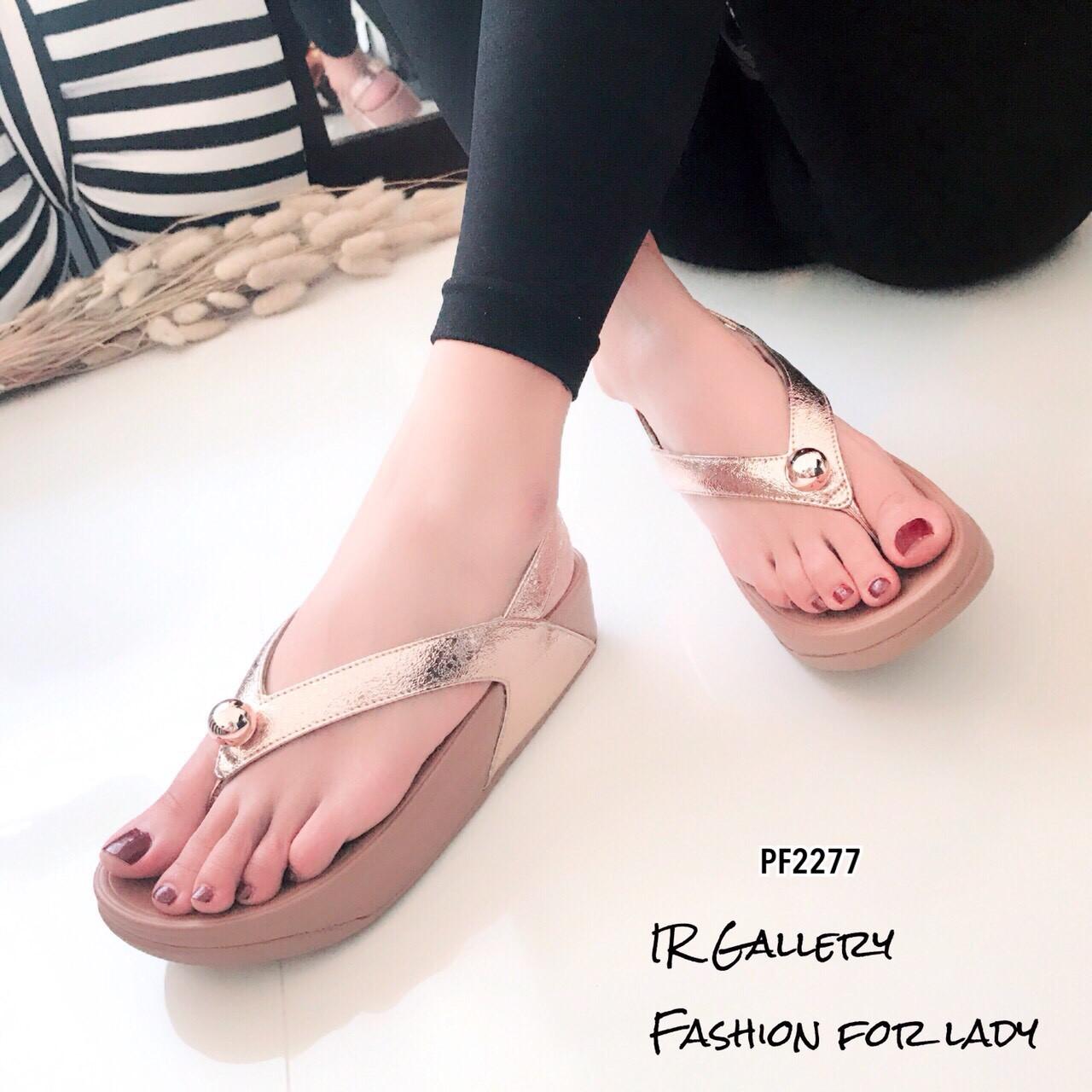 รองเท้าแตะ Style Fitflopคีบแต่งอะไหล่ (สีพีช)
