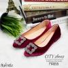 รองเท้าคัทชูส้นแบนสไตล์MN (สีแดงเลือดหมู)