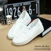 พร้อมส่ง : รองเท้าลูกไม้ทรงรูเฟอร์ สีขาว (ส่งฟรีEMS!!)