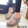 รองเท้าส้นเตารีดคาดทอง Zara Style (สีเทา)