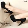 พร้อมส่ง : รองเท้าส้นสูงกำมะหยี่ (สีดำ)