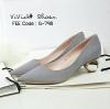 รองเท้าคัทชูส้นปรอทเงินสไตล์เกาหลี (สีเทา)