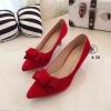 รองเท้าคัทชูโบว์กำมะหยี่ (สีแดง)