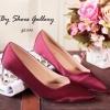 พร้อมส่ง : รองเท้าคัชชูผ้าซาติน (สีแดง)
