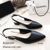 รองเท้าคัทชูรัดส้นทรงหัวแหลม (สีดำ)