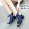 รองเท้าคัทชูส้นตันแต่งเชือก (สีน้ำเงิน)