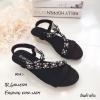 รองเท้าแตะเสริมส้นแต่งดอกไม้ (สีดำ)