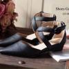 พร้อมส่ง : รองเท้าหัวแหลมหนังนิ่ม (สีดำ)