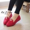 รองเท้าส้นขนมปังหน้า V (สีแดง)