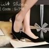 รองเท้าคัทชูส้นปรอทเงินสไตล์เกาหลี (สีดำ)
