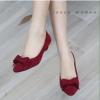 พร้อมส่ง : รองเท้าคัทชูกำมะหยี่ติดโบว์ (สีแดง)