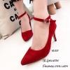 รองเท้าคัทชูกำมะหยี่รัดข้อ (สีแดง)
