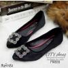 รองเท้าคัทชูส้นแบนสไตล์MN (สีดำ)