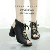 รองเท้าคัทชูส้นตันแต่งเชือก (สีดำ)