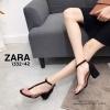 รองเท้าส้นตัน Style Zara T-Strap (สีดำ)