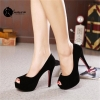รองเท้าส้นสูงกำมะหยี่สีดำ (รุ่นเปิดหน้าเท้า)