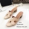 รองเท้าแตะสวมเสริมส้น Style Hermes (สีครีม)