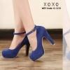 รองเท้าคัทชูส้นสูงแต่งสายรัด (สีน้ำเงิน)