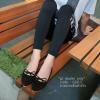 รองเท้าคัทชูหัวแหลมแต่งโบว์ (สีดำ)
