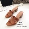 รองเท้าแตะสวมเสริมส้น Style Hermes (สีน้ำตาล)