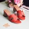 รองเท้าแตะสวมเสริมส้น Style Hermes (สีส้ม)