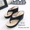 รองเท้าแตะคีบส้นเตารีดสไตล์ลำลอง (สีดำ)
