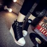 รองเท้าผ้าใบส้นเตารีดสไตล์แฟชั่นเกาหลี (สีดำ)