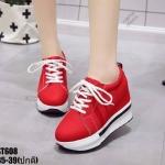 รองเท้าผ้าใบเสริมส้นแต่งลายแฟชั่น (สีแดง)