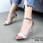 รองเท้าส้นสูงหนังเงารัดข้อ (สีเงิน)