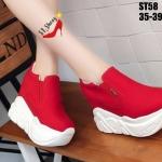 รองเท้าผ้าใบเสริมส้นบุนิ่มสไตล์แฟชั่นเกาหลี (สีแดง)