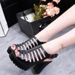 รองเท้าหน้าสานสไตล์แฟชั่นเกาหลี (สีดำ)